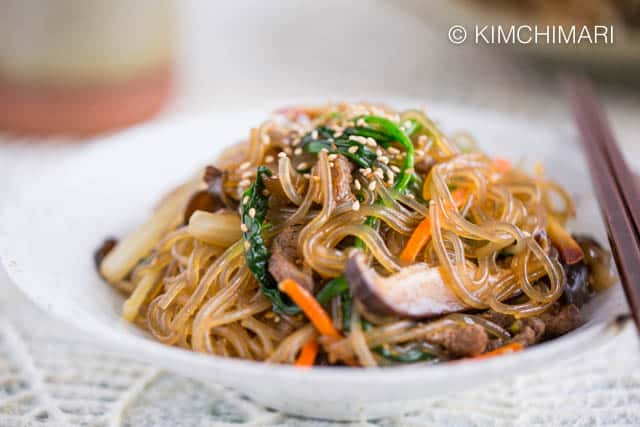 Japchae Korean Glass Noodles Closeup