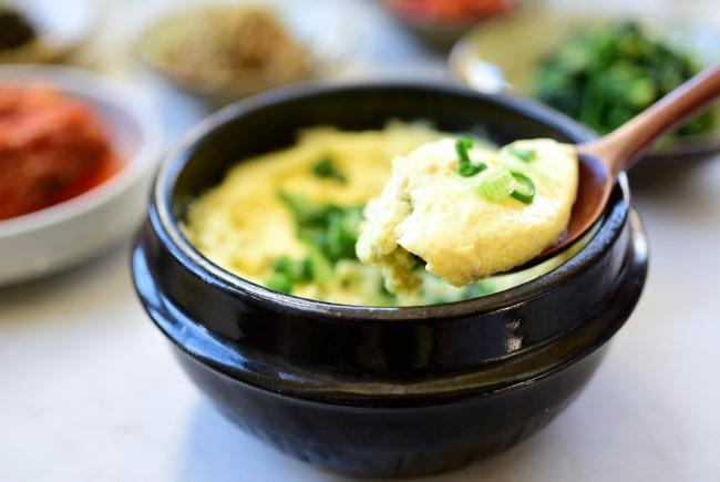 Gyeran jjim in a stone pot (Korean steamed eggs)