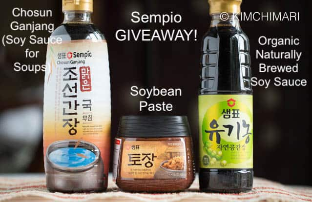 bottles of sempio soy sauces and doenjang