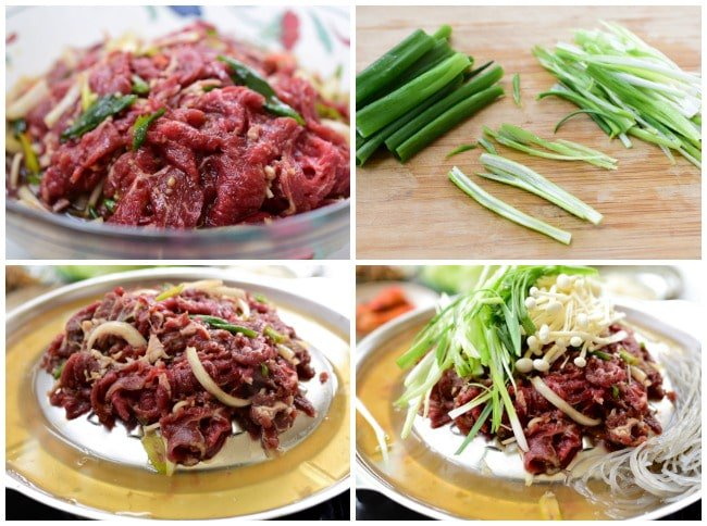 Marinated bulgogi arranged on a dome shaped pan along with thinly sliced scallions and enoki mushrooms