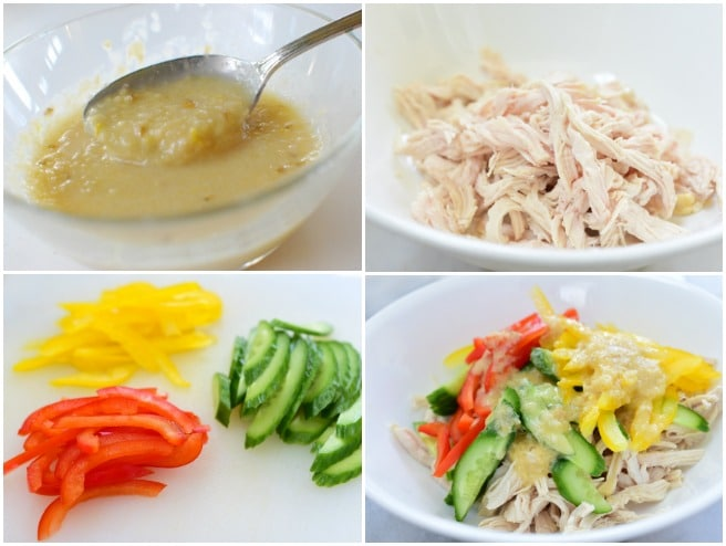 A collage of step photos for Korean chicken salad