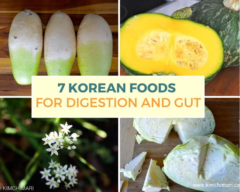 collage image of korean foods good for digestion - radish, pumpkin, chives, ginger