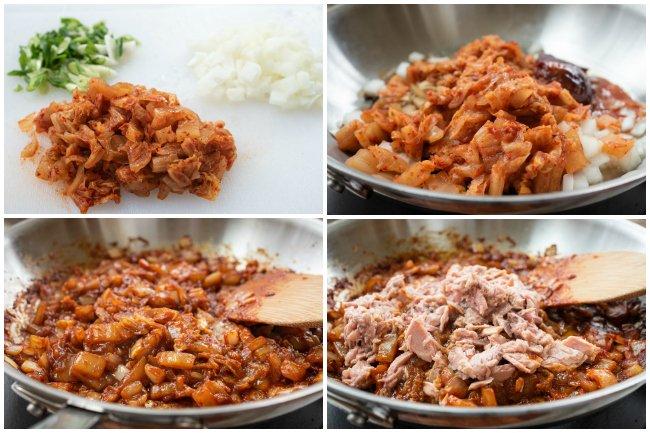 Kimchi fried rice process photos