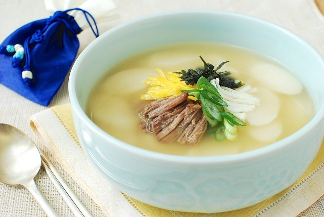 Korean rice cake soup in a bowl
