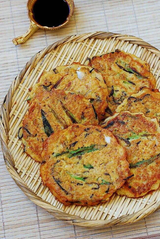 Nokdu bindaetteok (Korean savory pancakes made with mung bean batter)