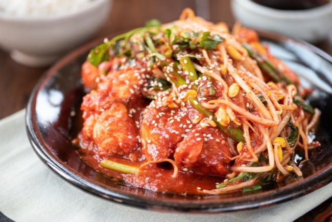 red spicy braised monkfish with soybean sprouts