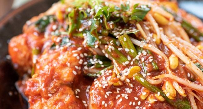 Spicy monkfish with soybean sprouts