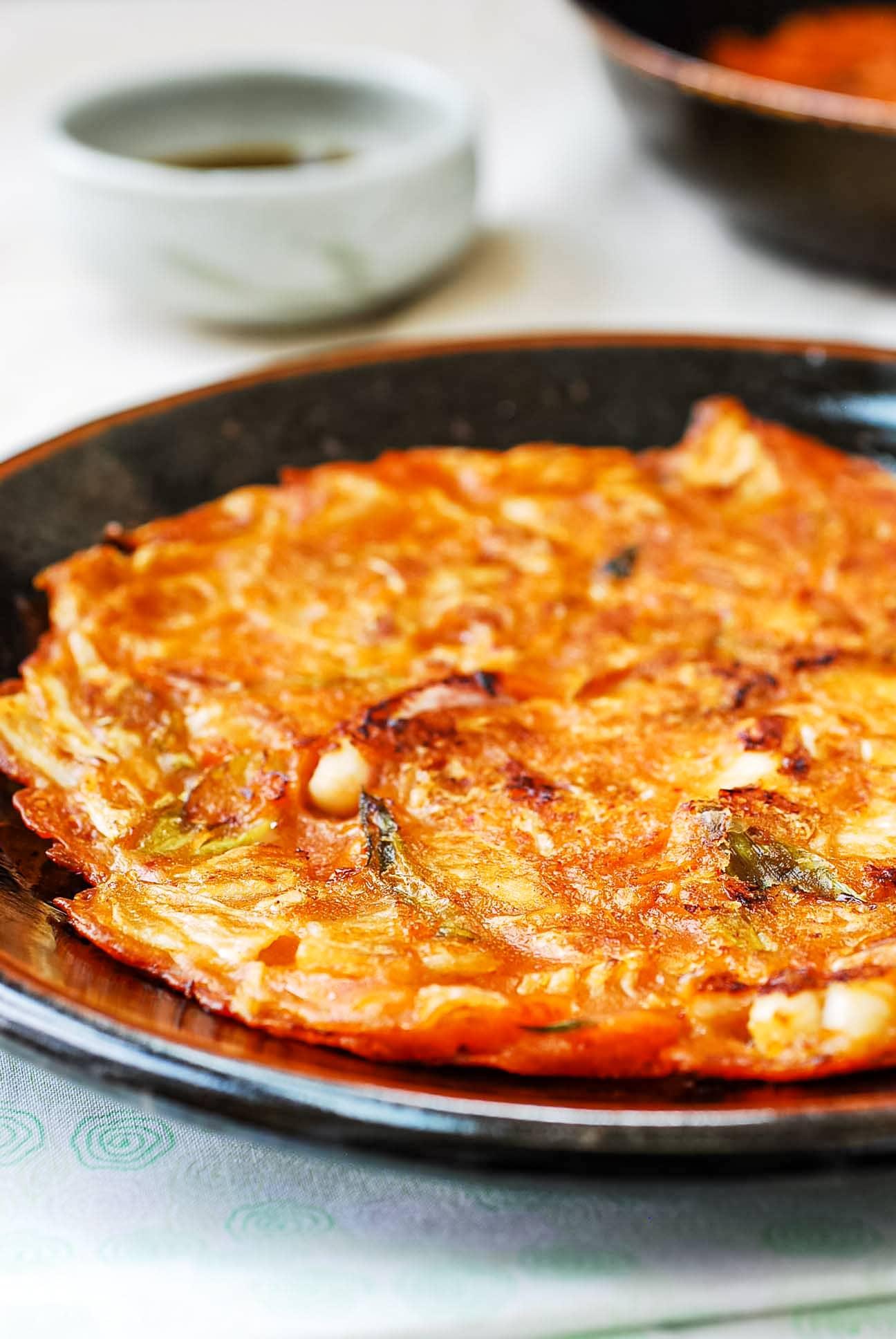 Korean kimchi pancake with dipping sauce